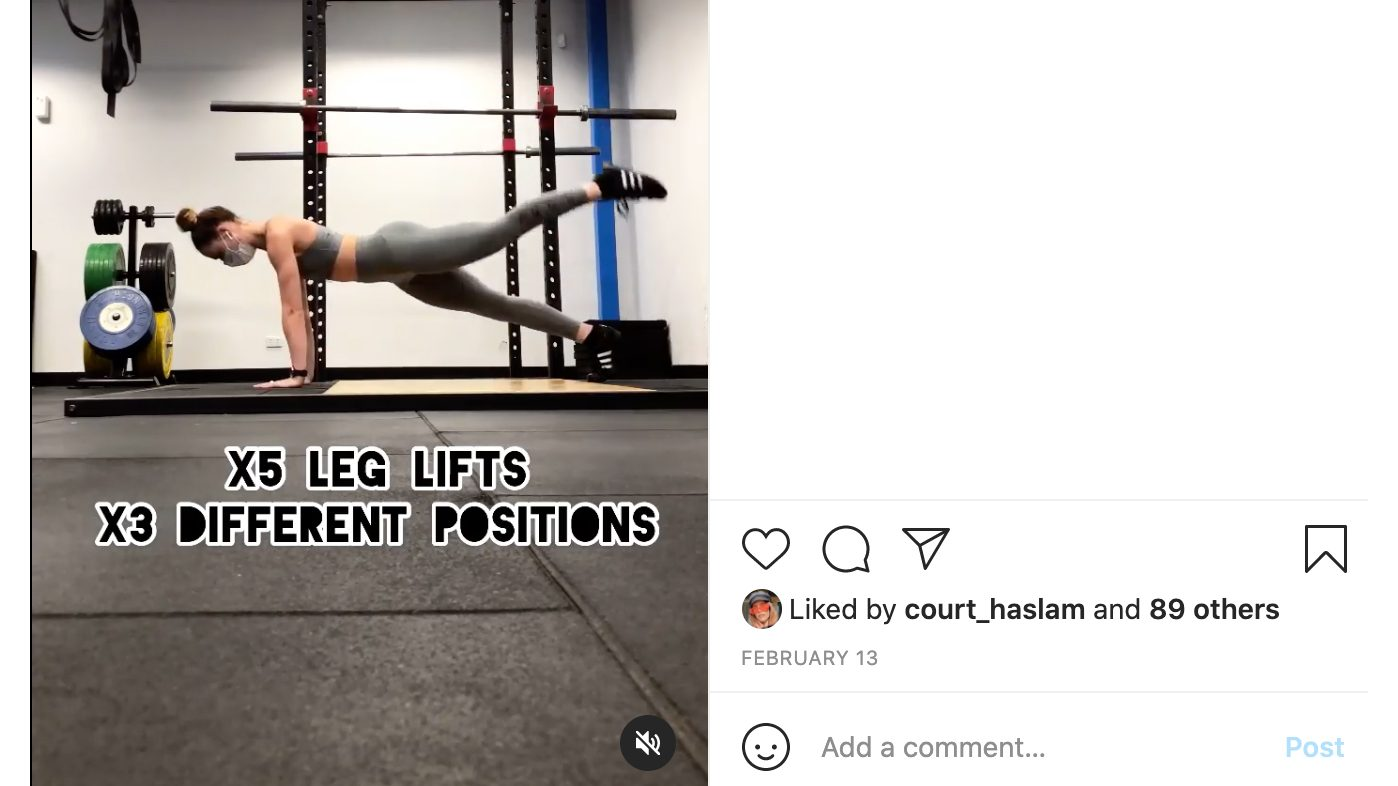 A screenshot of an Instagram post of a woman working out in a gym